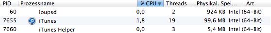 CPU-Last von iTunes unter Pure Music