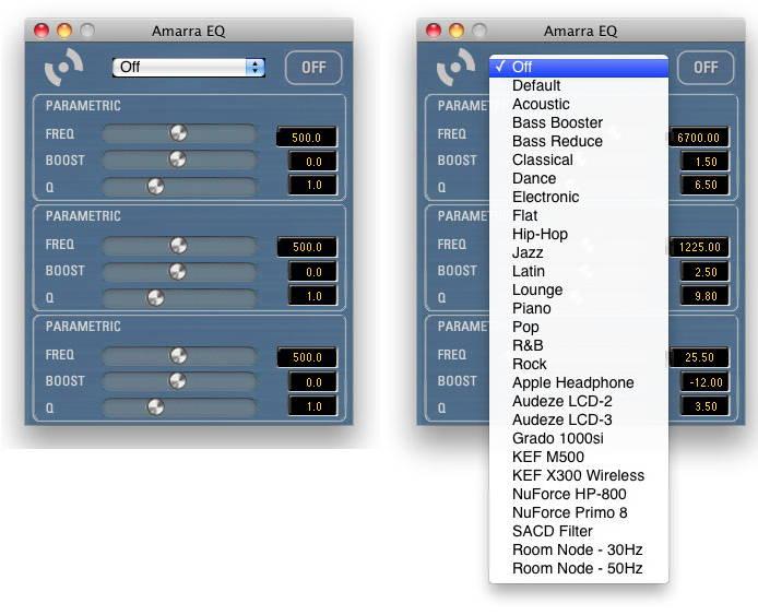 Der Amarra Equalizer bietet eine Reihe von Presets und drei Felder für eigene Einstellungen.