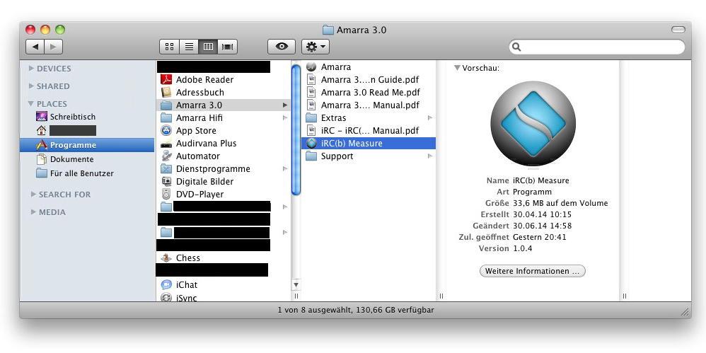 Die eigentliche Messsoftware iRC(b) wird im Programmordner von Amarra mitgeliefert