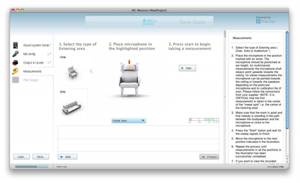 iRC(b) Setup - Schritt 4: Sitzmöbel auswählen und Mikrofon zur Messung vorbereiten