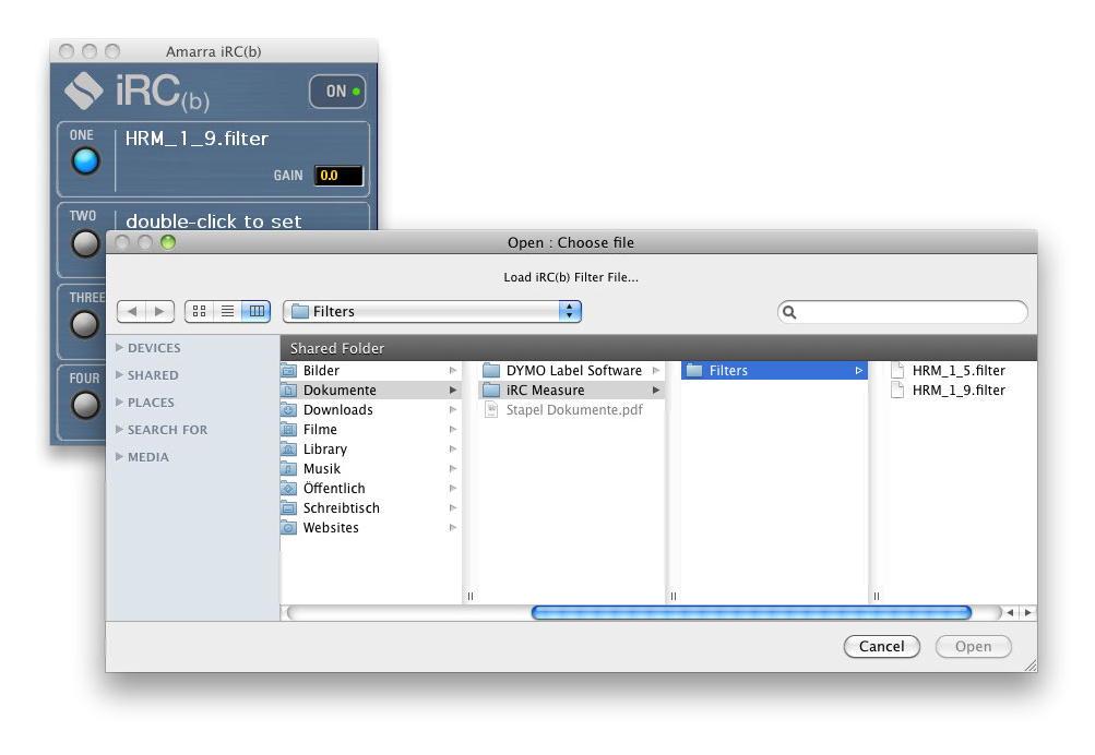 iRC(b) Setup - Schritt 8: Jetzt kann in der Player-Software Amarra 3.0 der iRC(b)-Filter ausgewählt werden