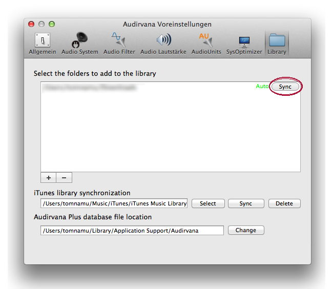 Audirvana 2 Voreinstellungen - hier kann die Datenbank gesinnt werden, wenn es mal bei der Sortierung hakt