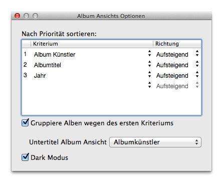 Option für Feinschliff: Mit dem Fenster für Darstellungsoptionen lässt sich die Sortierung der Alben genau festlegen.