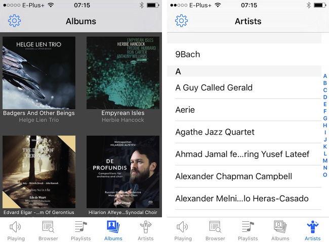 Auswahl nach Alben (links) oder Künstlern (rechts): Audirvana A+ Remote folgt den Optionen seiner Mutter-Software