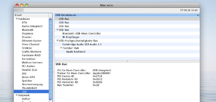 Der System-Profiler gibt Auskunft über die Belegung der USB-Ports