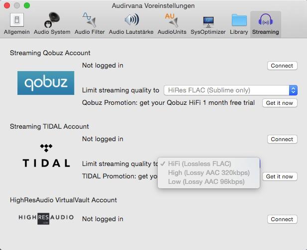 Auswahl an Bord: Neben Tidal kann Audirvana Plus 2 auch Streams von qobuz und HighResAudio wiedergeben.