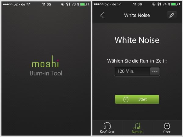 Mit der kostenlosen iOS-App Burin-in Tool von Moshi lässt sich der Rausch timen