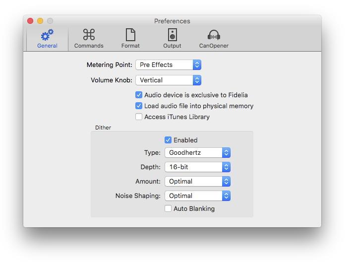Die Einstellungen von Fidelia umfassen fünf Bereich – in den Allgemeinen Einstellungen lässt sich beispielsweise der Audioausgang exklusiv für den Audioplayer reservieren