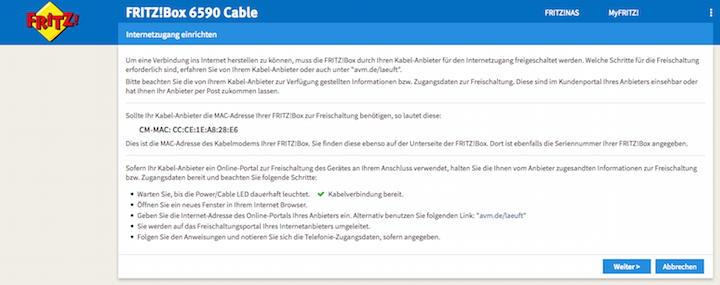 Die Assistenz-Funktion der Fritzbox hilft auch bei der Einstellung der Internet-Anbieter-Daten