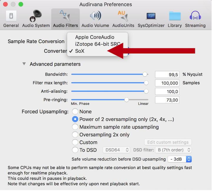 Das jüngste Update für Audirvana Plus 3 bringt den Audio-Konverter SoX