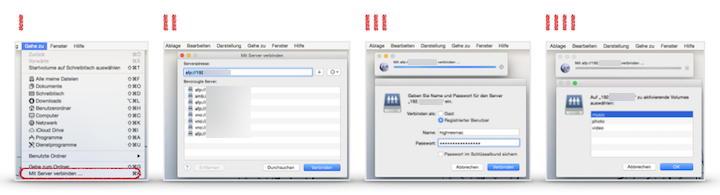 NAS am Mac mounten ist ganz einfach und erfolgt in vier Schritten (klicken für großes Bild)