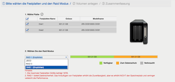 Drei RAID-Modi, aber nur einer ist unter dem Aspekt der Datensicherheit sinnvoll: RAID-1. Bei NAS mit mehr Schächten fiele die Wahl auf RAID-5.