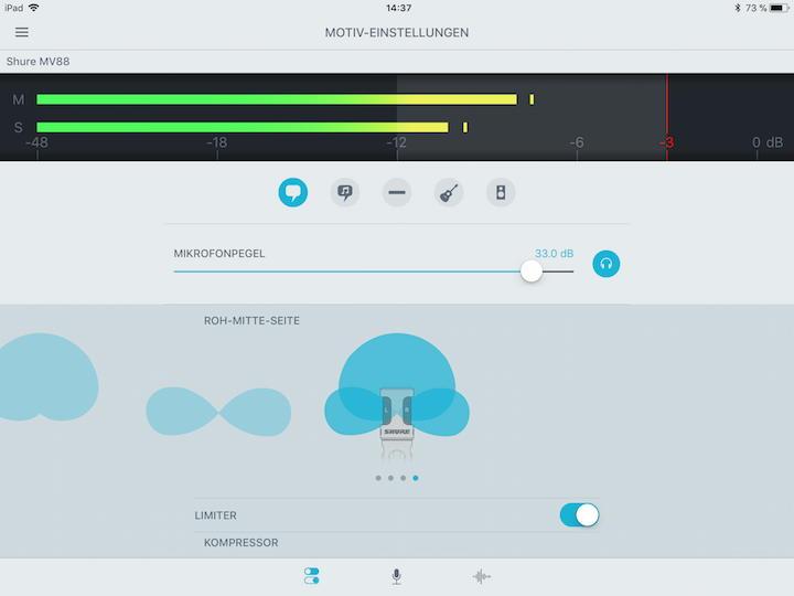 Software als Zubehör: Mit der kostenlosen Motiv Mobile Recording App aus dem Appstore können diverse Parameter des Mikrofons beeinflusst werden