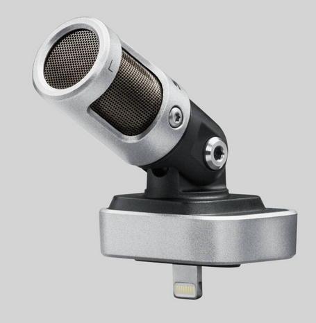 Das Shure MV88: Oben Kondensator-Mikrofone im Kippbaren Kopf, unten ein Lightning-Stecker