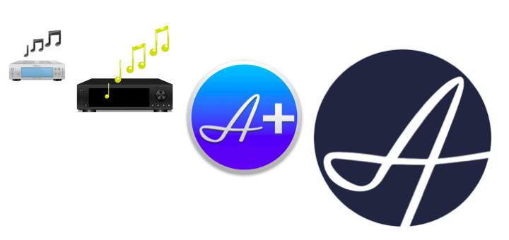 Von Audirvana free (silber) über Audirvana 1 (schwarz) und Audirvana 2 und 3 (blau) führt der Weg zum neuen Audirvana 3.5 (dunkelblau)Von Audirvana free (silber) über Audirvana 1 (schwarz) und Audirvana 2 und 3 (blau) führt der Weg zum neuen Audirvana 3.5 (dunkelblau)