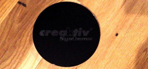 Die creaktiv systems Twister Stop Maxi Glaslinse mit 150 mm Durchmesser bringt Geräte in beschwingtere Klang-Gewässer