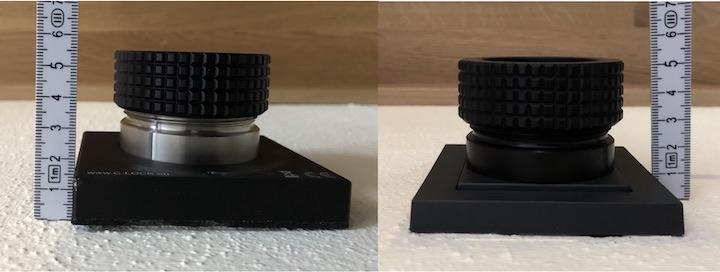 Unterschiedlich lang: Die C-Lock SE (links) kragt 5,5 cm aus der Wand, die C-Lock Lite nur 5 cm