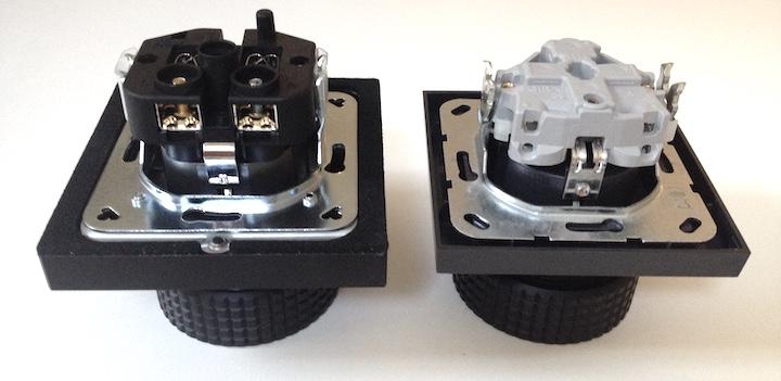 Unterschiede in vielen Details: Die C-Lock SE (links) setzt auf Furutech auf, die C-Lock Lite (rechts) auf Gira